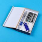 Набор подарочный 3в1 (ручка, калькулятор, фонарик синий)