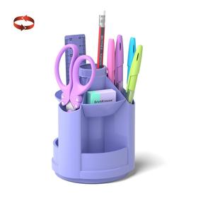 Набор настольный на вращающейся подставке 8 предметов, ErichKrause Mini Desk, Pastel, пластиковый, фиолетовый