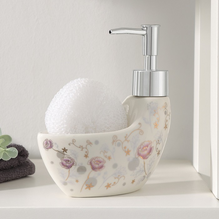 """The detergent dispenser 200 ml with stand for sponge """"Evening bells"""""""