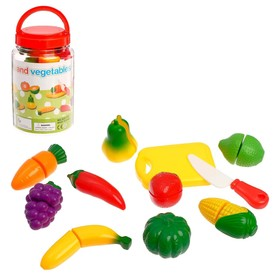 A set of fruits and vegetables with Velcro, in a jar