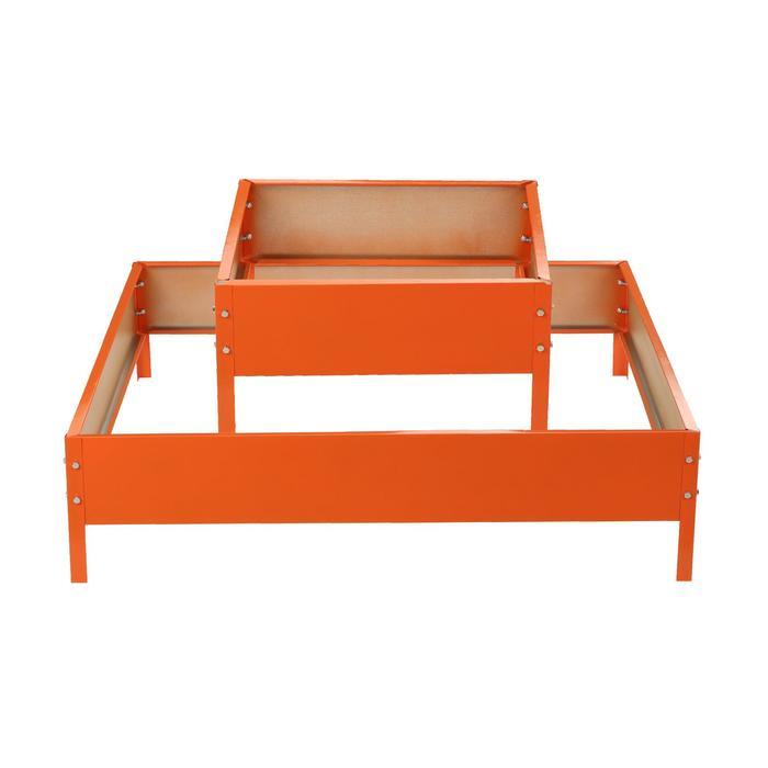Клумба оцинкованная, 2 яруса, 50 × 50 см, 100 × 100 см, оранжевая, «Квадро», Greengo - фото 282125673