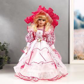 """Кукла коллекционная керамика """"Леди Виктория в розовом платье"""" 40 см"""