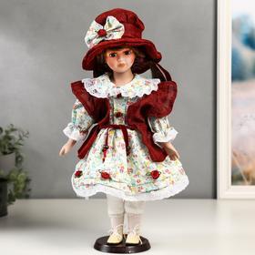 """Кукла коллекционная керамика """"Вероника в цветочном платье и красном пальто"""" 40 см"""