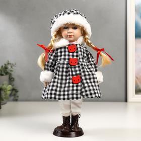 """Кукла коллекционная керамика """"Злата в пальто в клеточку с красными пуговицами"""" 30 см"""