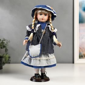 """Кукла коллекционная керамика """"Танечка в синем платье с передником"""" 40 см"""