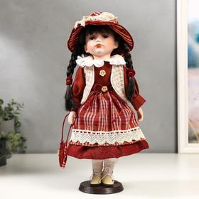 """Кукла коллекционная керамика """"Иришка в красном платье в клетку"""" 40 см"""