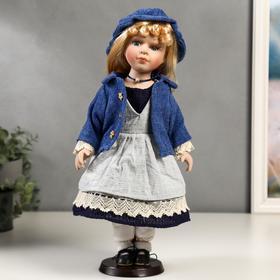 """Кукла коллекционная керамика """"Мариша в сарафане и синей кофточке"""" 40 см"""