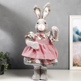 """Кукла интерьерная """"Зайка в цветочном платье и розовом переднике"""" 55 см"""