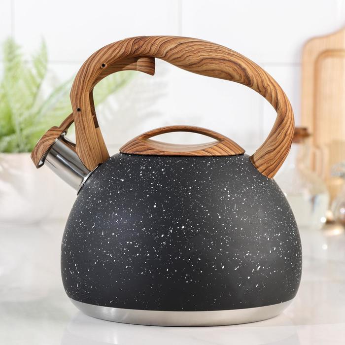 Чайник со свистком «Мрамор», 3 л - фото 786073