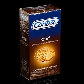 Презервативы Contex Relief с ребрами и точками, 12 шт