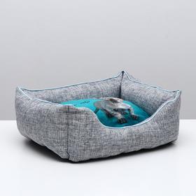 "Лежанка пухлик ""Дизайн"" №2 PerseLine ЛД-20 с кошкой микс 46 x 36 x 20 см"