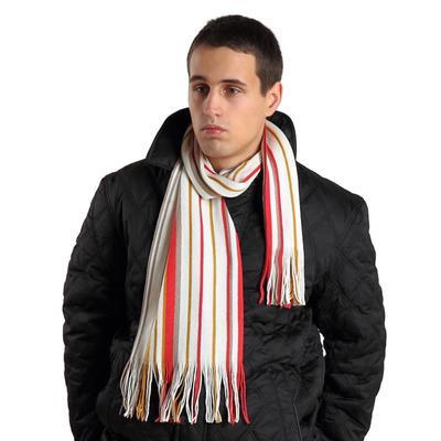 Шарф мужской, размер 30х160 см, цвет белый, красный, бежевый