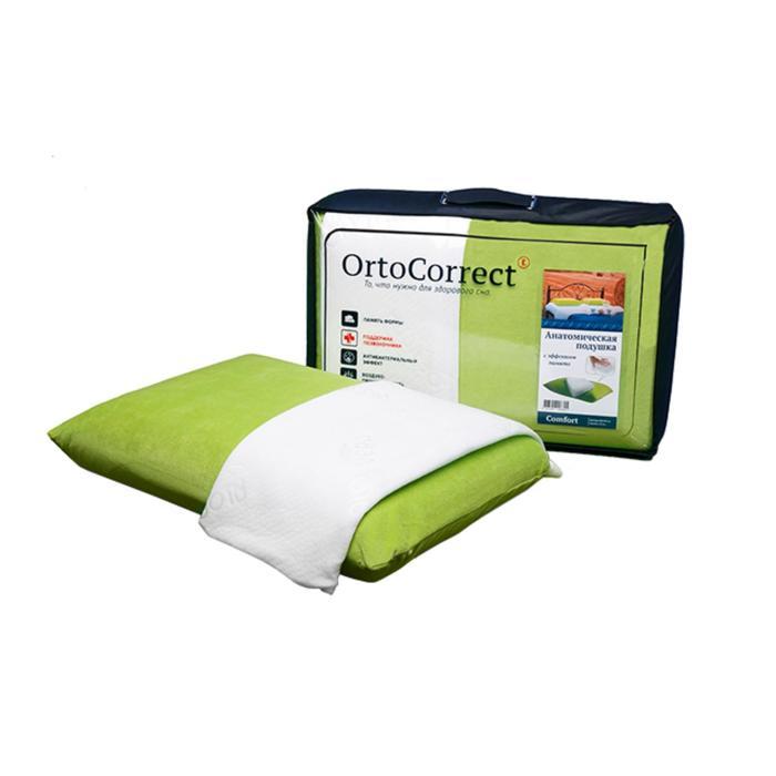 Ортопедическая подушка OrtoCorrect Comfort с 2-мя наволочками (велюр цвет фисташка + белая - фото 771166