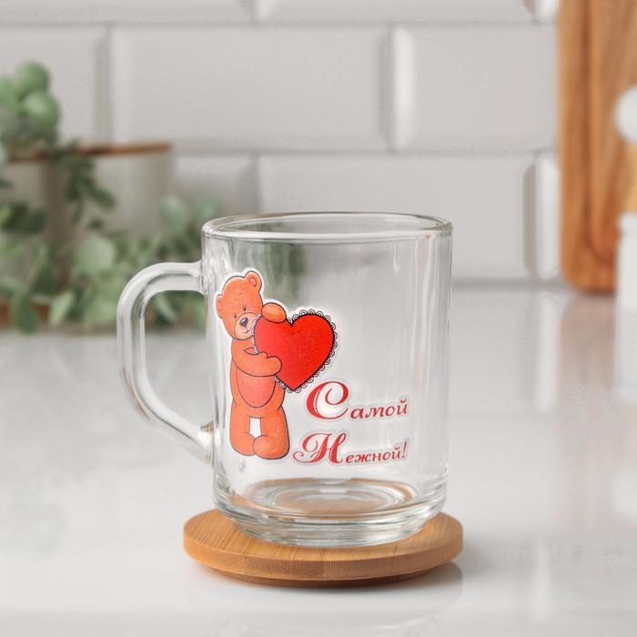 """Кружка """"Самой нежной!"""" мишка и сердце, 200мл - фото 724793"""