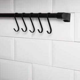 Рейлинг Tekno-tel Re'Black, 60 см, 5 крючков, цвет чёрный