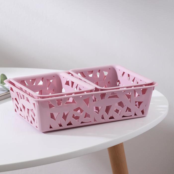 Комплект корзин универсальных, L+XS+XS, цвет светло-розовый - фото 282125750