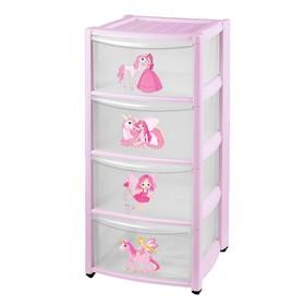 Комод детский на колесах 4 ящика, цвет розовый