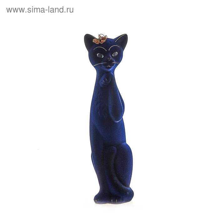 """Копилка """"Кошка Алиса"""" большая, флок, синяя"""