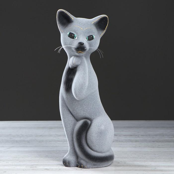 """Копилка """"Кошка Алиса"""", покрытие флок, серая, 33 см"""