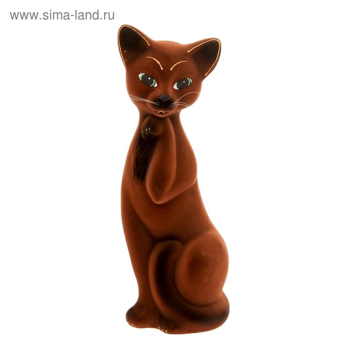 """Копилка """"Кошка Алиса"""" средняя, флок, коричневая"""