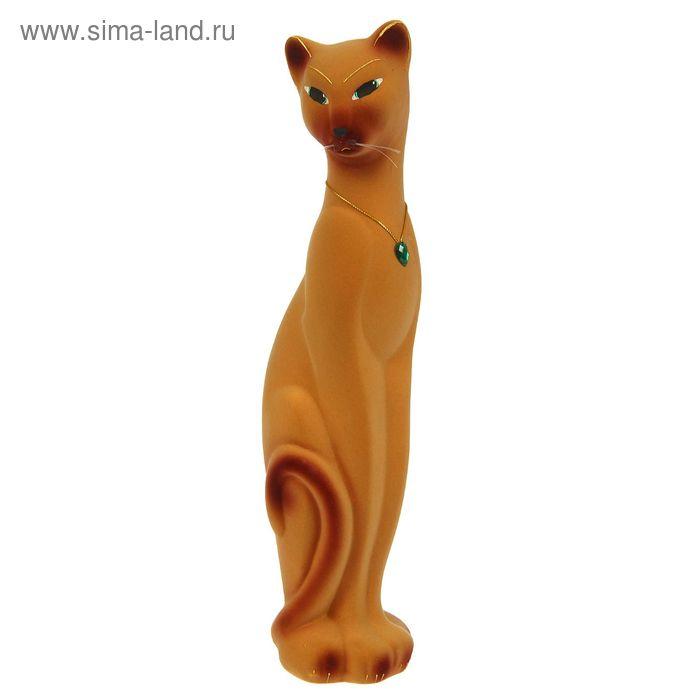 "Копилка ""Кошка Багира"" малая, флок, бежевая"