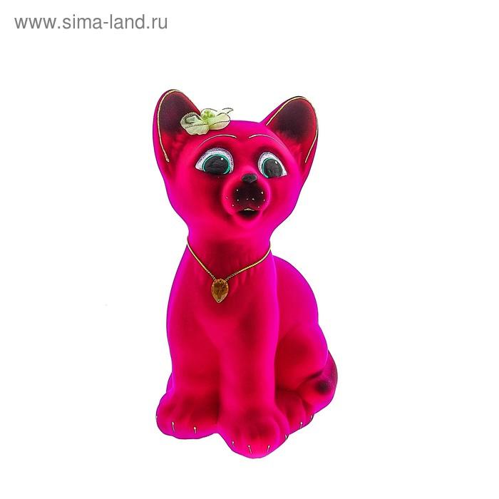"""Копилка """"Котёнок"""" флок, розовая"""