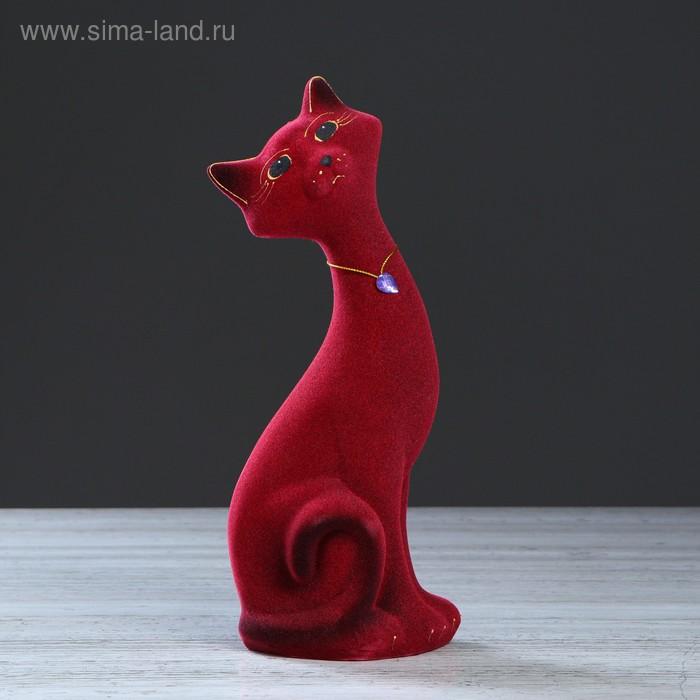 "Копилка ""Кот Маркиз"" малая, бордовая, флок"