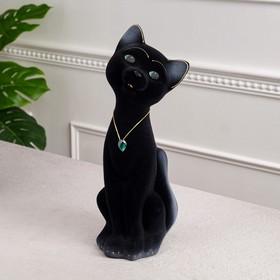 """Копилка """"Кот Матвей"""", покрытие флок, чёрная, 37 см"""