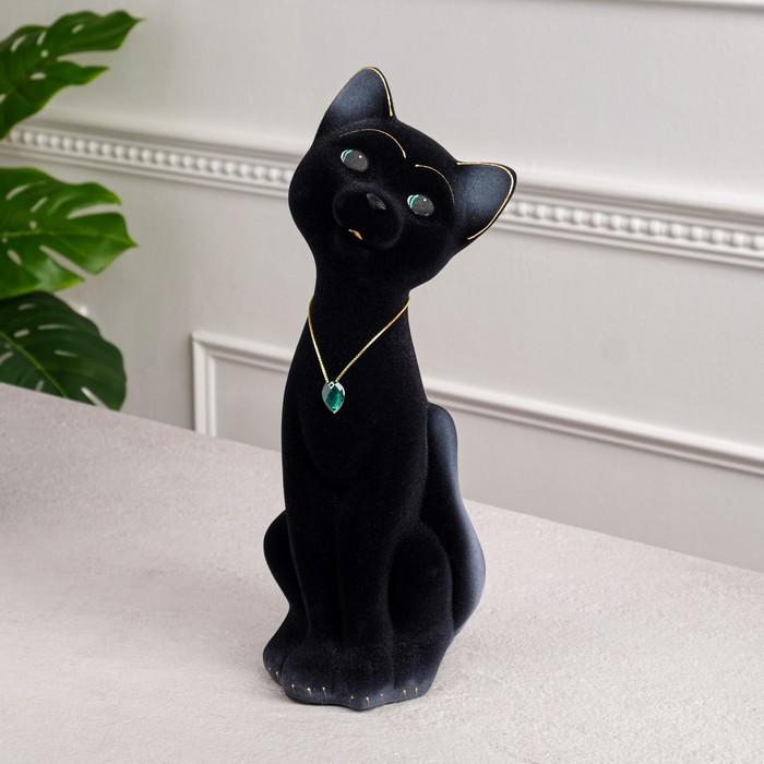"""Копилка """"Кот Матвей"""" большая, флок, чёрная"""
