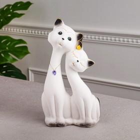 """Копилка """"Коты Пара Свидание"""", покрытие флок, белая, 28 см, микс"""