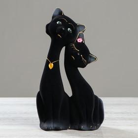 """Копилка """"Коты пара Свидание"""", покрытие флок, чёрная, 27 см"""
