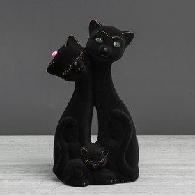 """Копилка """"Кот Семья"""", покрытие флок, чёрная, 27 см, микс"""