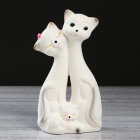 """Копилка """"Семейство котов"""" флок, белая, 26 см"""