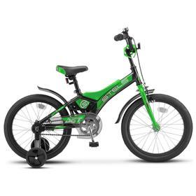 """Велосипед 16"""" Stels Jet, Z010, цвет черный/зеленый"""