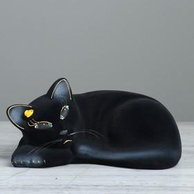 """Копилка """"Кошка Соня"""", покрытие флок, чёрная, 13 см"""