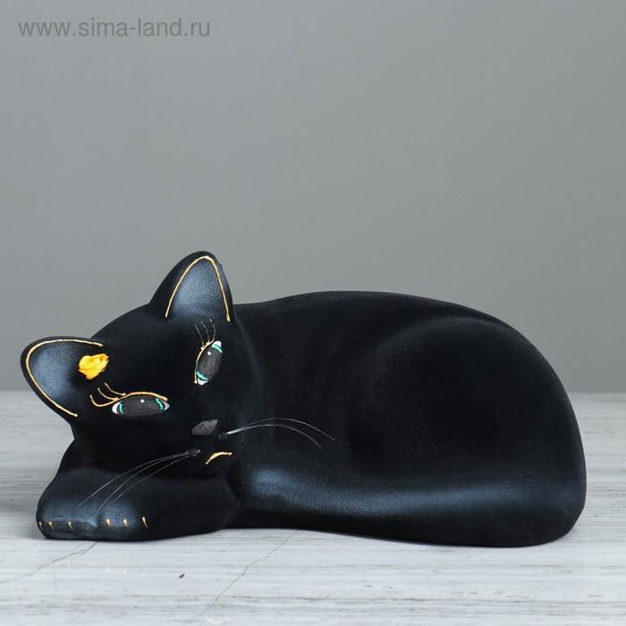 """Копилка """"Кошка Соня"""" флок, чёрная"""