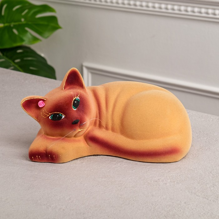 """Копилка """"Кошка Соня"""", покрытие флок, бежевая, 13 см"""
