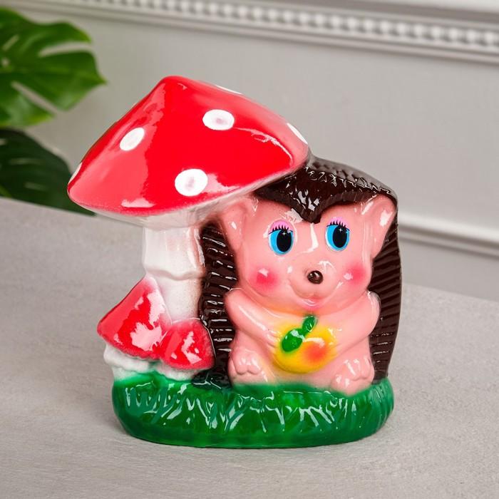 """Копилка """"Ёжик под грибом"""", глянец, разноцветная, 21 см"""