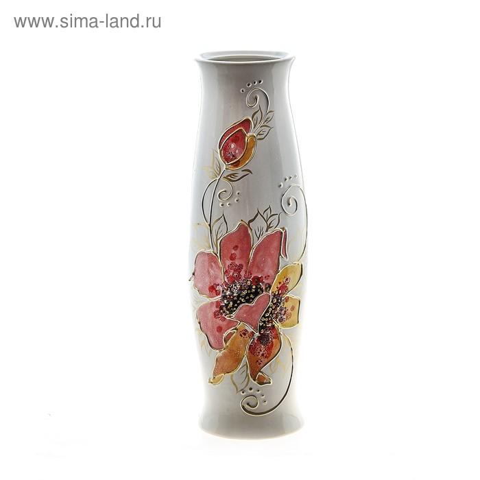 "Ваза ""Ромина"" роспись, цветы, белая"