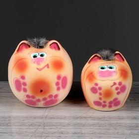 """Копилка """"Коты Пузыри"""", покрытие флок, оранжевая, 18 см"""