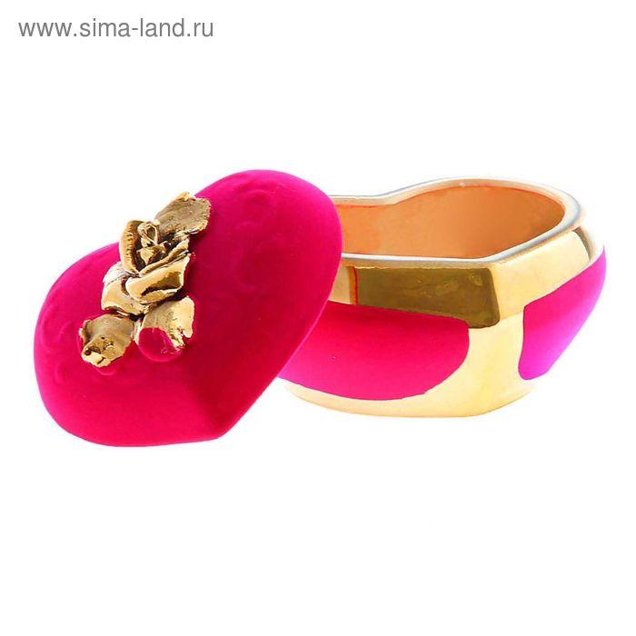 """Шкатулка """"Сердце"""" булат, флок, розовая"""