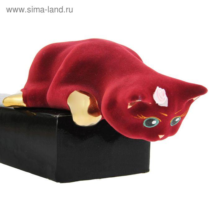 """Сувенир """"Кошка Варька"""" флок, булат, бордовая"""