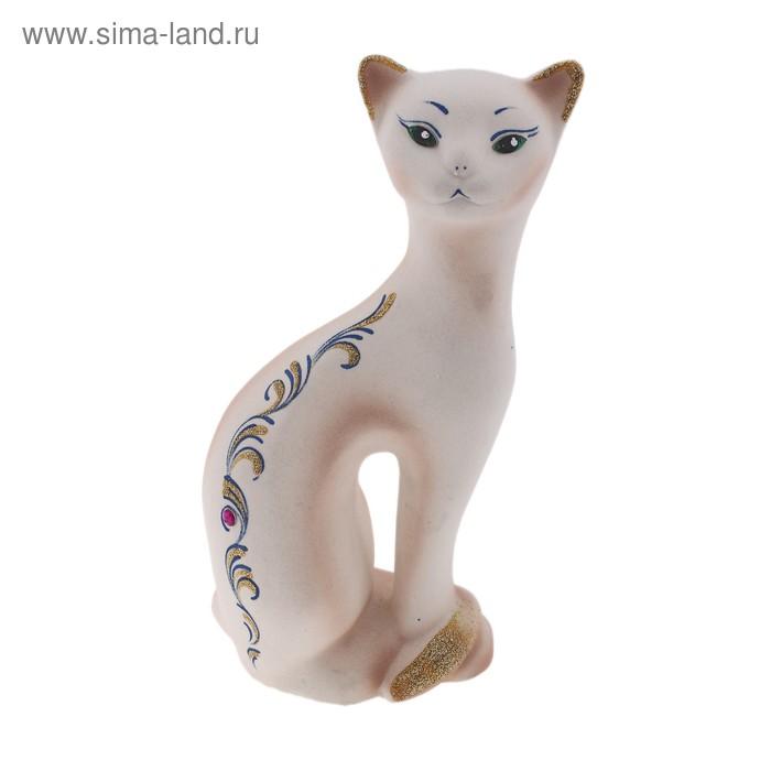 "Копилка ""Кошка Ласка"" флок, белая"