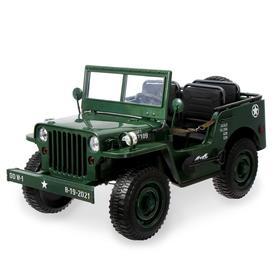 Электромобиль «Армейский джип», 3-х местный, 4WD полный привод, EVA колеса, цвет зелёный