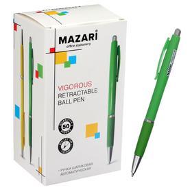 Ручка шариковая автоматическая Mazari Vigorous, 1.0 мм, резиновый упор, синяя, корпус МИКС