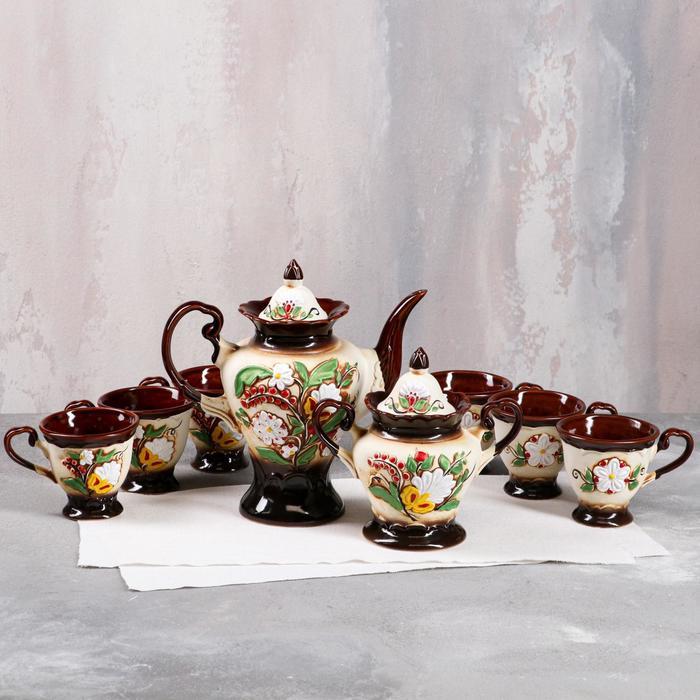 """Набор чайный """"Ева"""" цветы, 8 предметов: чайник 1 л, сахарница 0,8 л, кружки 0,3 л"""
