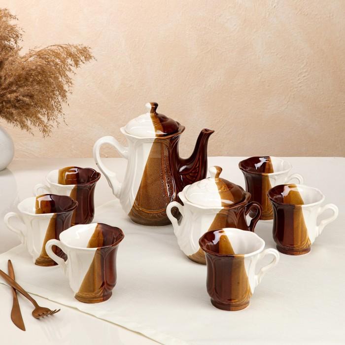 """Чайный сервиз """"Ажур"""" день и ночь, 8 предметов: сахарница, чайник 1 л, 6 кружек 0,22 л - фото 797607758"""
