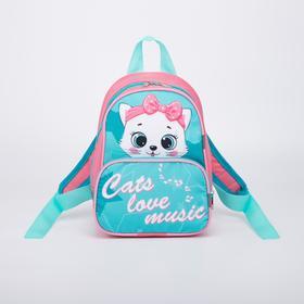 Рюкзак детский, отдел на молнии, цвет бирюзовый, «Кошка»