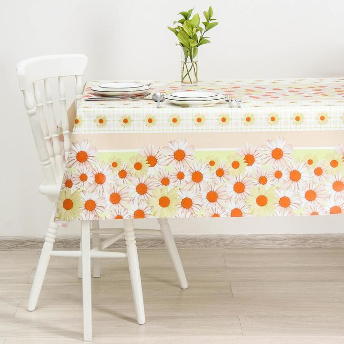 Клеёнка столовая на нетканой основе Доляна «Ромашки», ширина 137 см, рулон 20 м, цвет бежевый - фото 640205