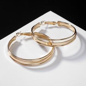 """Серьги-кольца """"Карма"""" крупная линия, цвет золото, d=3,5"""